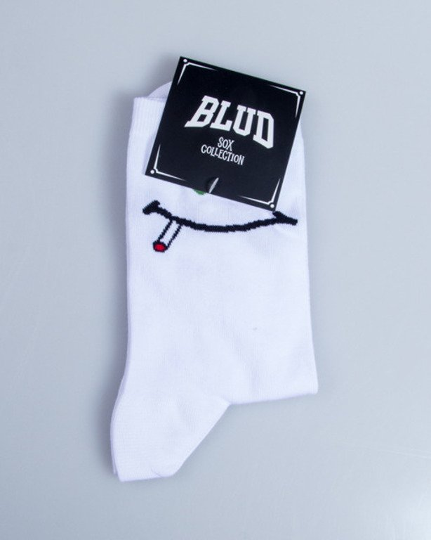 BLUD SOCKS QUARTER GREEN SMILE WHITE
