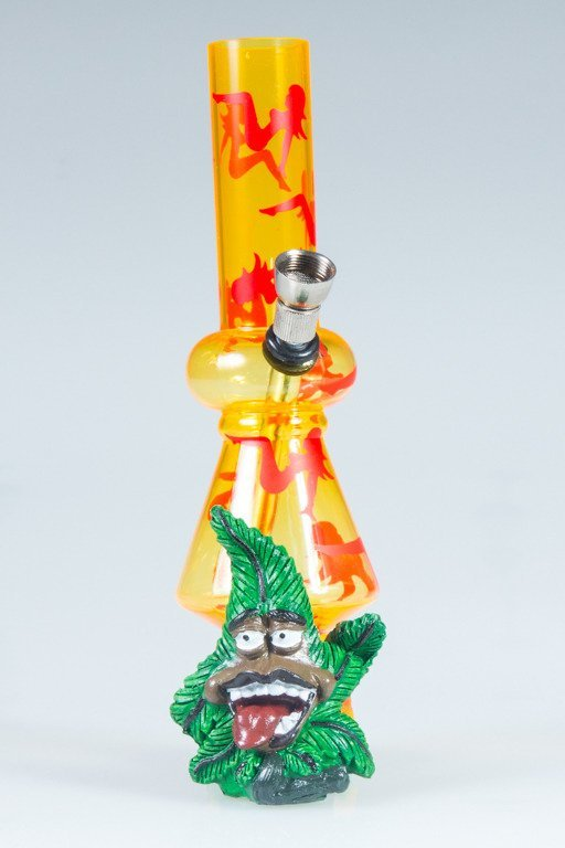 BONGO AKRYLOWE RASTA GANJA LADY BONG YELLOW-RED
