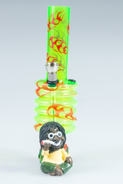 BONGO AKRYLOWE RASTA GLASS FIRE BANDS GREEN-RED