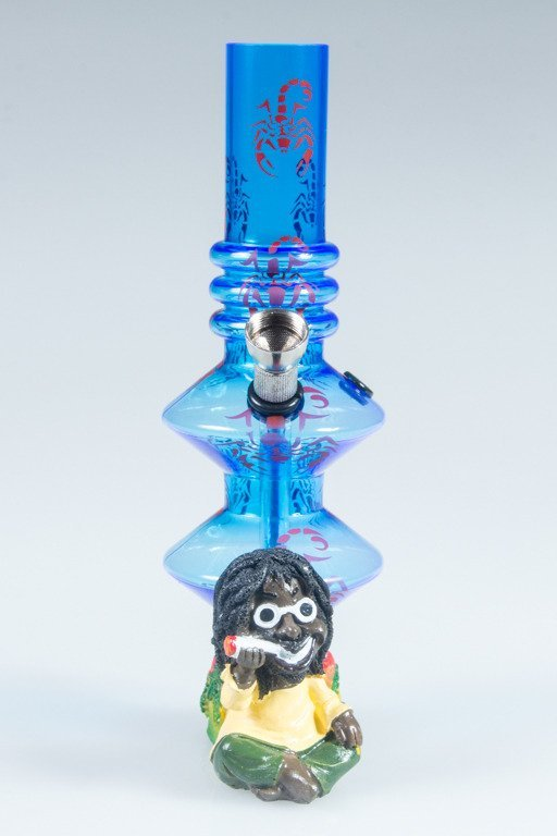 BONGO AKRYLOWE RASTA GLASS SCORPION BONG TWICE BLUE-RED