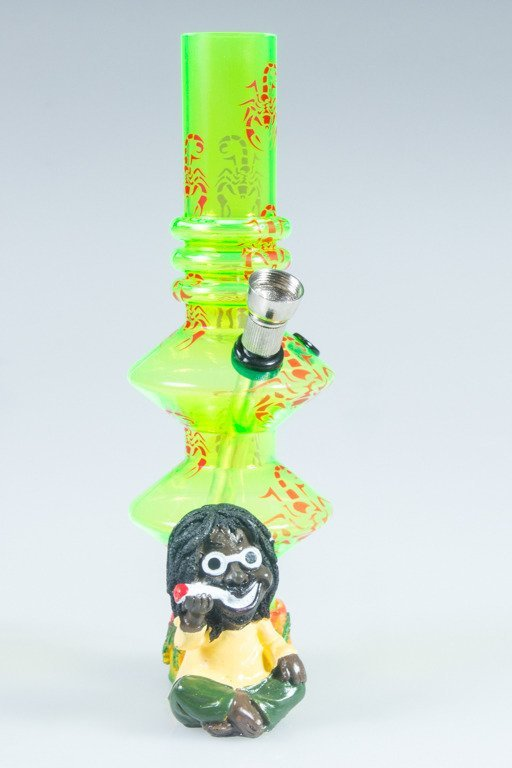 BONGO AKRYLOWE RASTA GLASS SCORPION BONG TWICE GREEN-RED