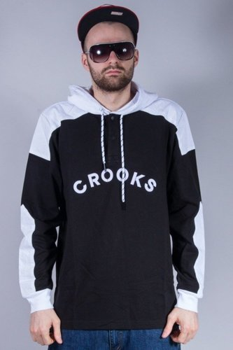 CROOKS&CASTLES BLUZA Z KAPTUREM PERCY BLACK-WHITE