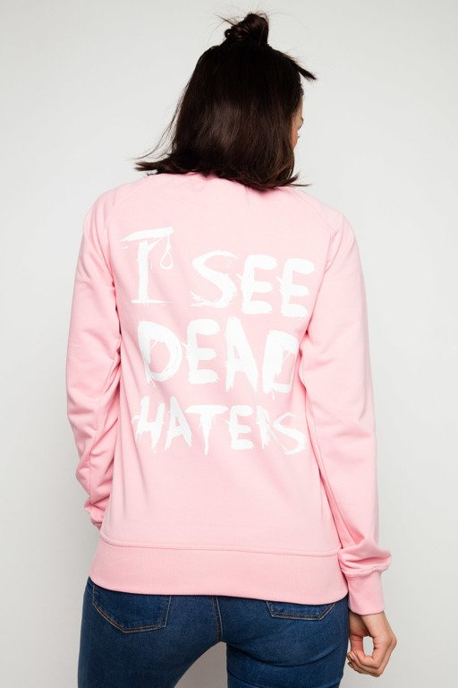 DIAMANTE CHICKS CREWNECK I SEE DEAD HATERS PINK