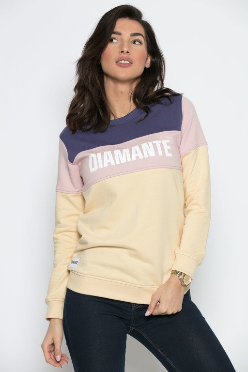 DIAMANTE CHICKS CREWNECK RAINBOW BLOCK NAVY-BEIGE