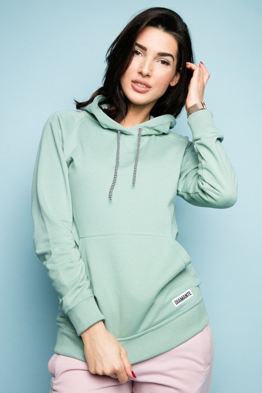 DIAMANTE CHICKS HOODIE BASIC GREEN