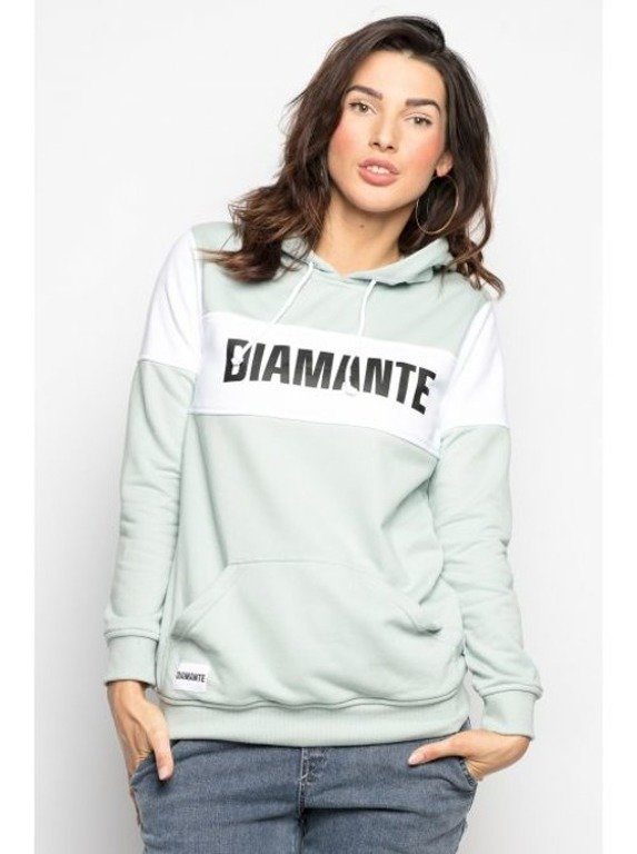 DIAMANTE CHICKS HOODIE MINT BLOCK MINT