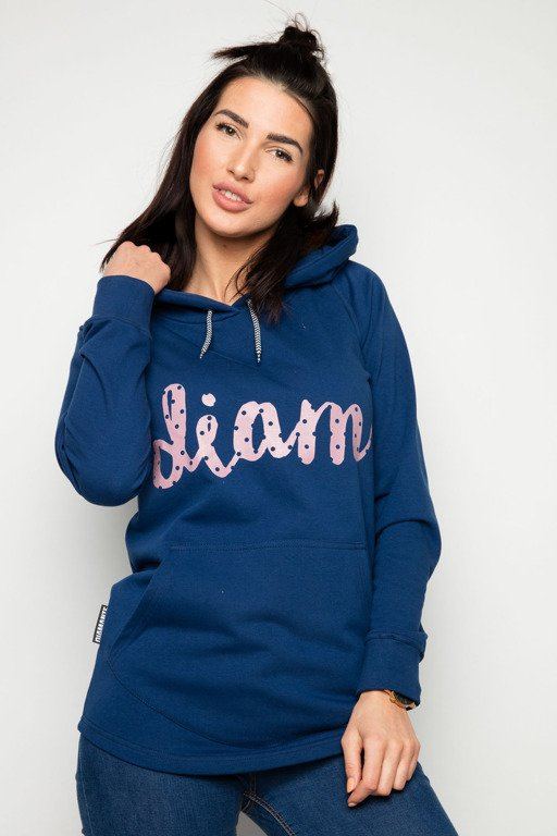 DIAMANTE CHICKS HOODIE POCKET D NAVY