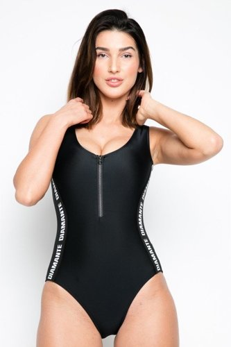 DIAMANTE CHICKS SWIMSUIT  BLACK