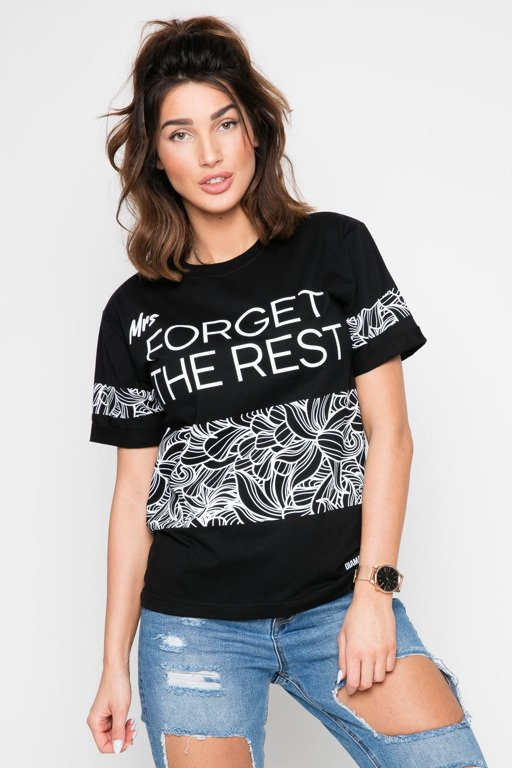 DIAMANTE CHICKS T-SHIRT MRS FORGET THE REST BLACK