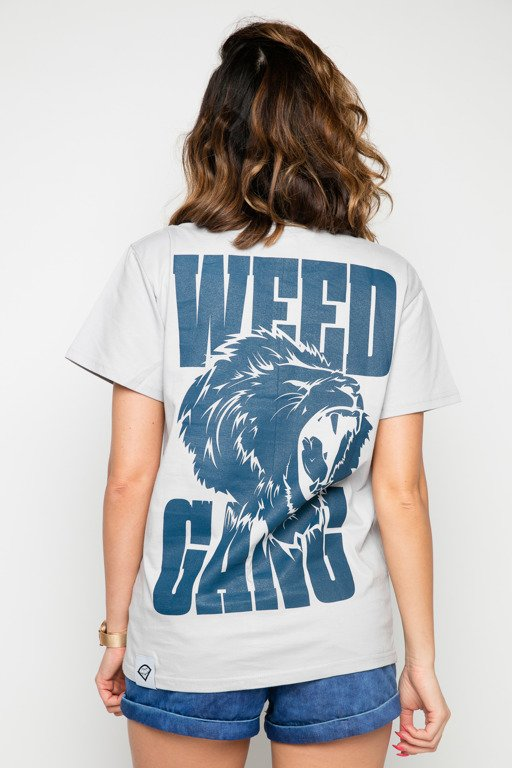 DIAMANTE CHICKS T-SHIRT WEED GANG GREY
