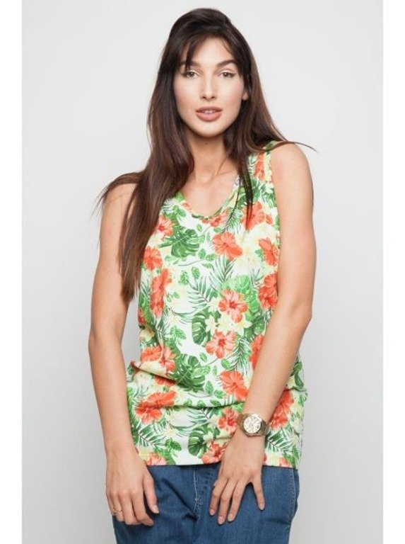 DIAMANTE CHICKS TANK TOP PRINT FLOWERS