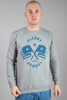 DIAMANTE WEAR CREWNECK FLIGHT SCHOOL MELANGE-BLUE