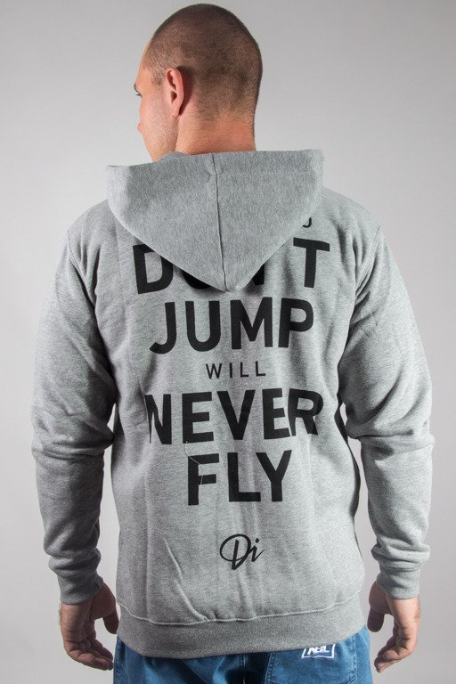 DIAMANTE WEAR HOODIE NEVER FLY GREY