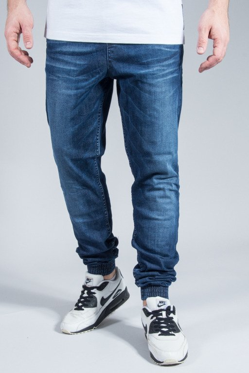 DIAMANTE WEAR PANTS JEANS JOGGER DARK WYCIERANE