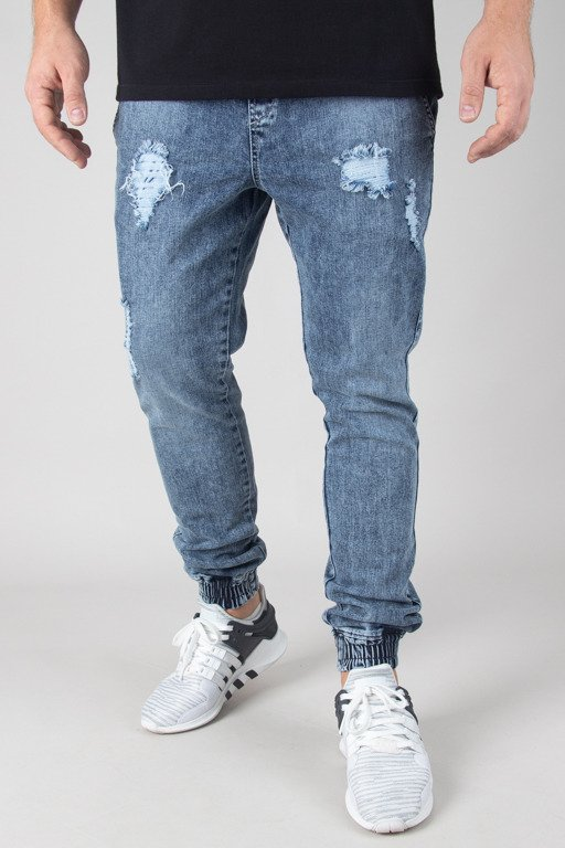 DIAMANTE WEAR PANTS JEANS JOGGER RIPPED MARMUR