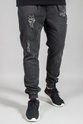 DIAMANTE WEAR PANTS JEANS JOGGER RM RIPPED BLACK
