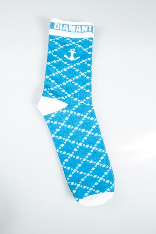 DIAMANTE WEAR SOCKS LONG ANCHOR BLUE