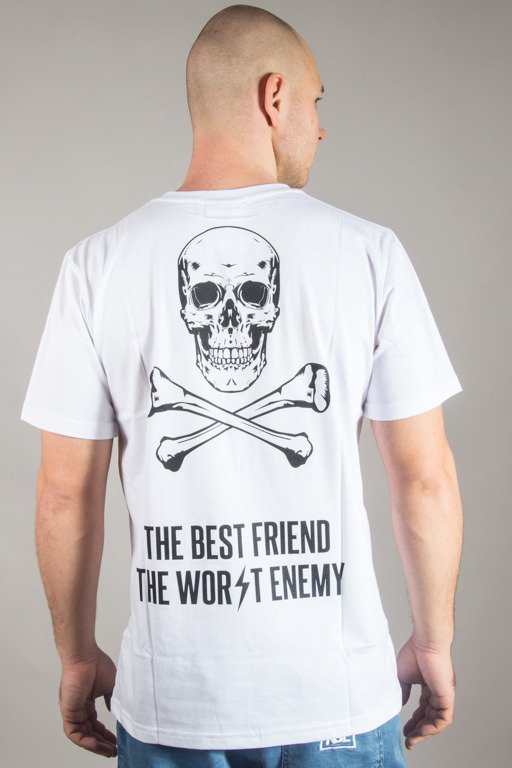 DIAMANTE WEAR T-SHIRT BEST FRIEND WORST ENEMY WHITE