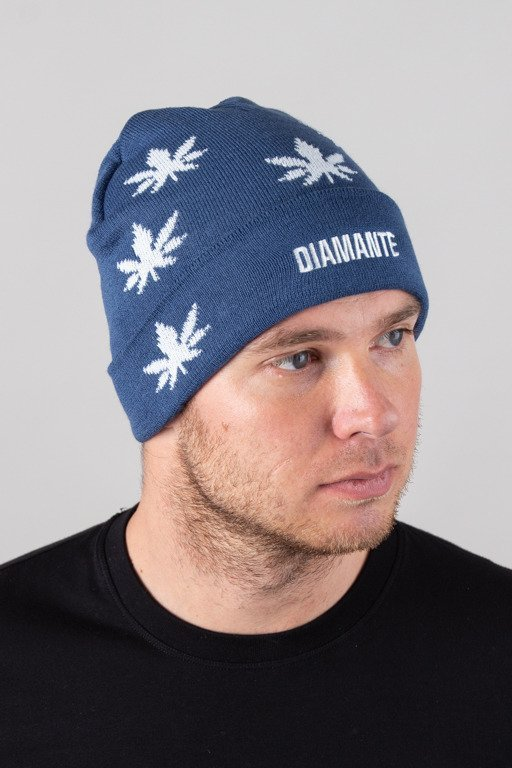 DIAMANTE WEAR WINTER CAP GANJA BLUE