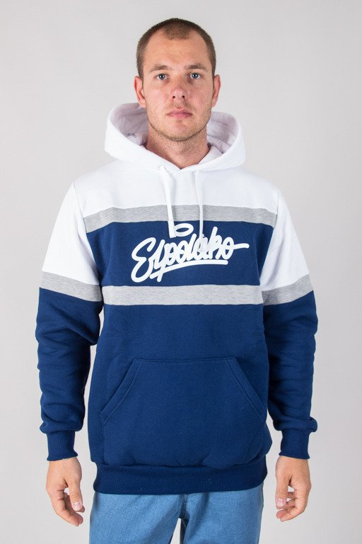 EL POLAKO HOODIE COLORS CUT NAVY-WHITE