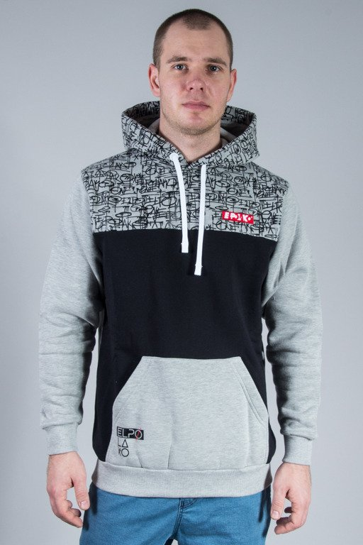 EL POLAKO HOODIE TAGS GREY-BLACK