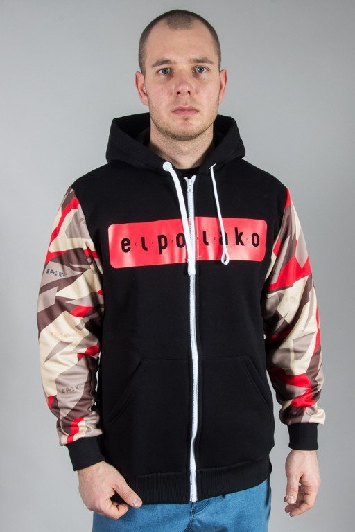 EL POLAKO HOODIE ZIP SLEEVE TRIANGLE MORO RED