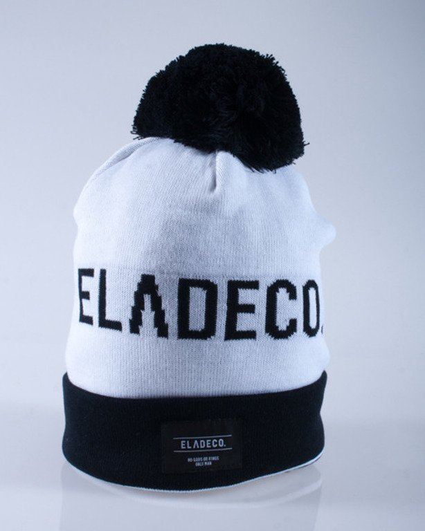 ELADE CZAPKA ZIMOWA POMPON CO. WHITE-BLACK