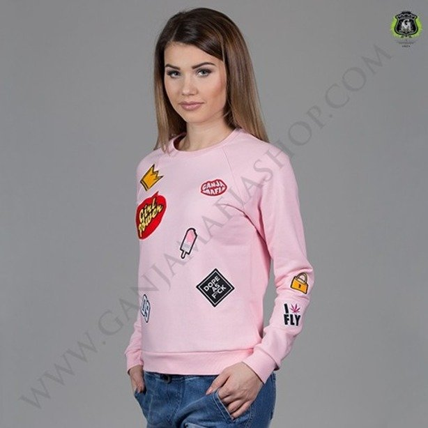 GANJA MAFIA CREWNECK WOMAN PATCH BUBBLE PINK