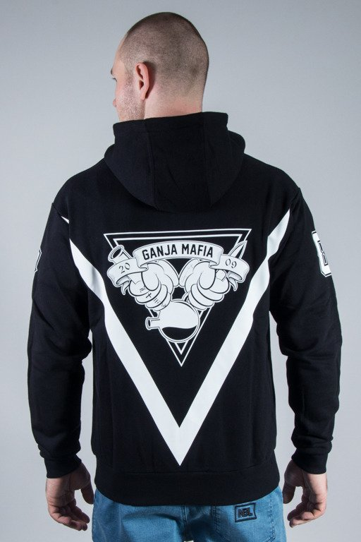 GANJA MAFIA HOODIE ZIP CARTOON GM BLACK