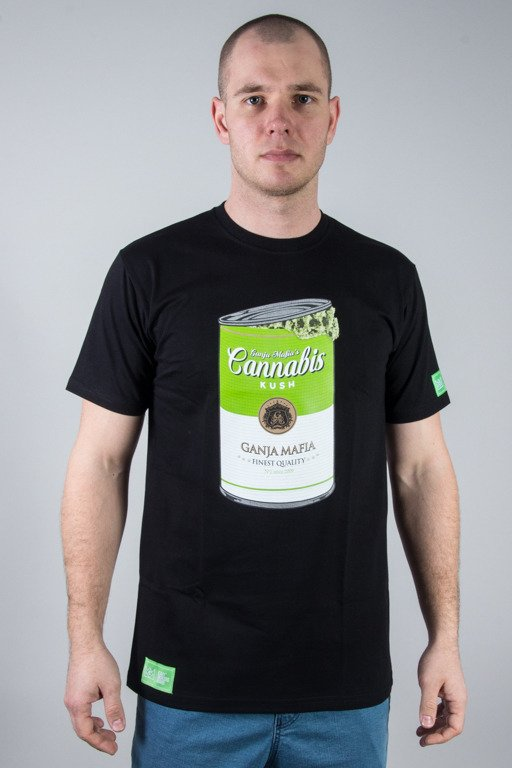 GANJA MAFIA T-SHIRT CANNABIS CAN BLACK