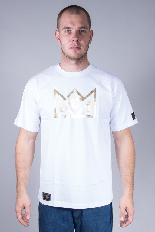GANJA MAFIA T-SHIRT CROW FOIL WHITE-GOLD