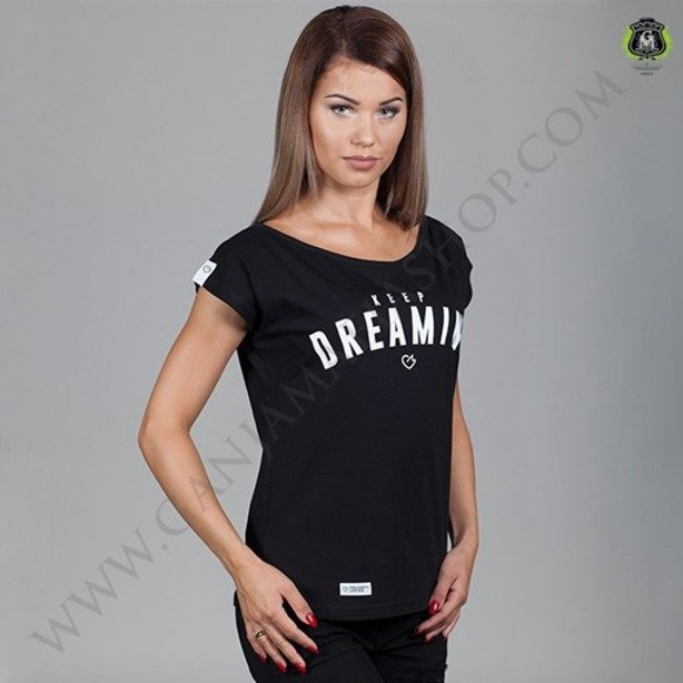 GANJA MAFIA T-SHIRT WOMAN KEEP DREAMING BLACK