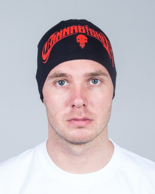 GANJA MAFIA WINTER CAP CANNABISHER BLACK-RED