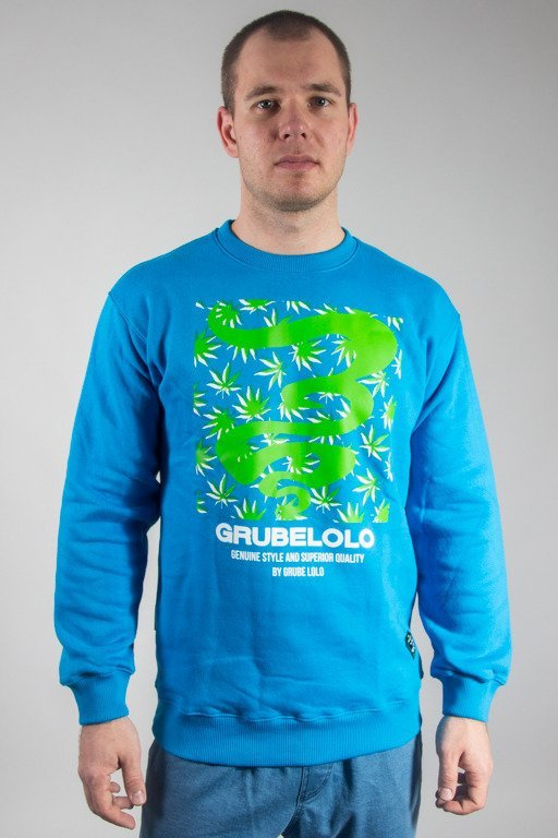 GRUBE LOLO CREWNECK LOGO FULL GANJA  LIGHT BLUE
