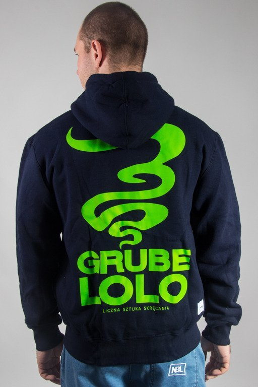 GRUBE LOLO HOODIE ZIP SMALL LOGO NAVY