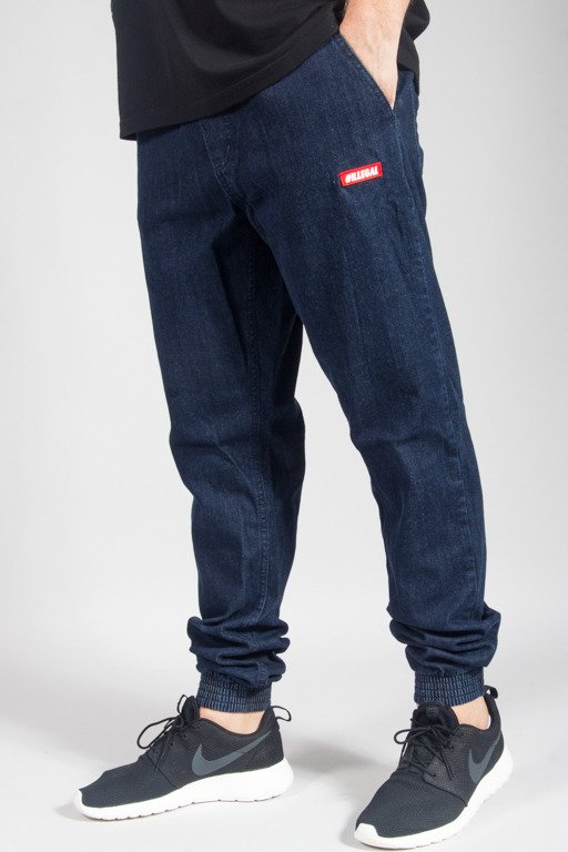 ILLEGAL PANTS JEANS JOGGER SLIM STRECZ SMALL RED DARK