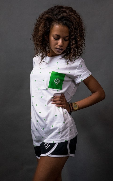 LABIRYNT T-SHIRT WOMAN KROPKA WHITE-GREEN