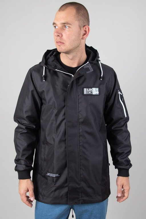 LUCK DICE JACKET PARKA LOGO LABEL BLACK