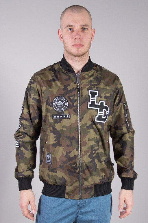 LUCKY DICE BOMBER JACKET EMBLEMS CAMO