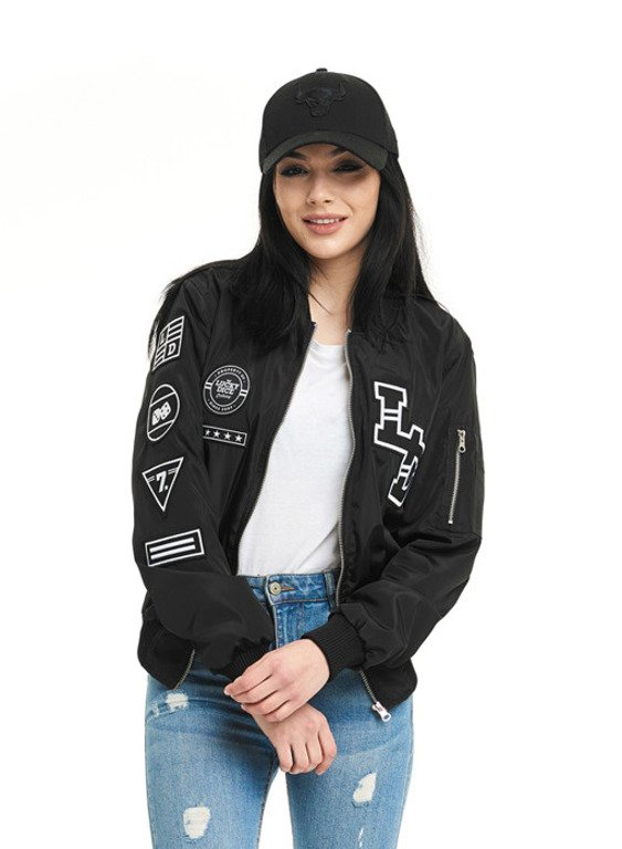 LUCKY DICE BOMBER JACKET WOMAN EMBLEMS BLACK