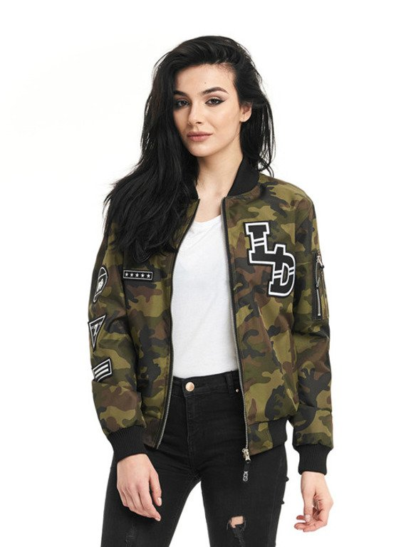 LUCKY DICE BOMBER JACKET WOMAN EMBLEMS CAMO