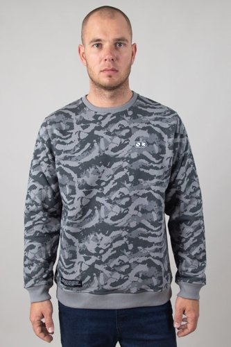 LUCKY DICE CREWNECK COLOUR STAIN CAMO GREY
