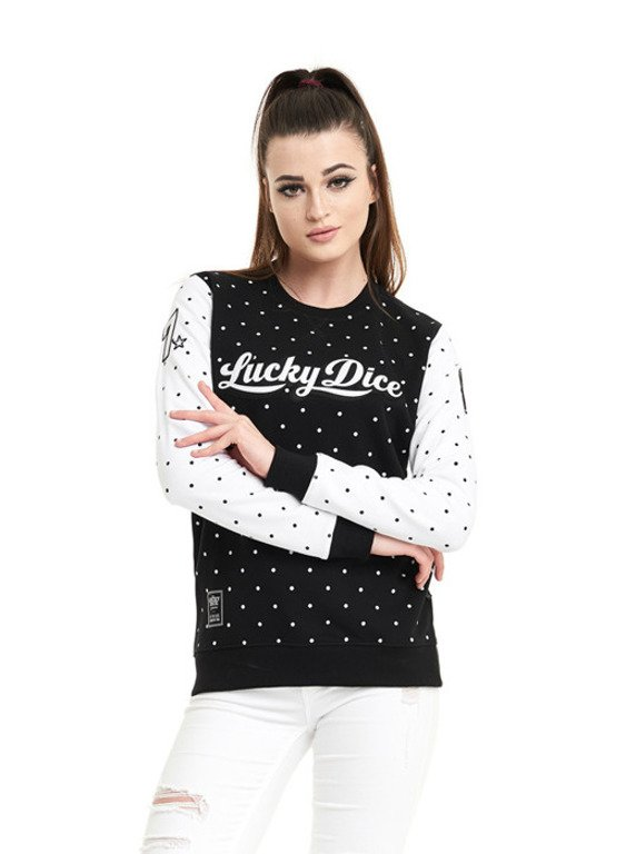 LUCKY DICE CREWNECK WOMAN DOT BABE BLACK