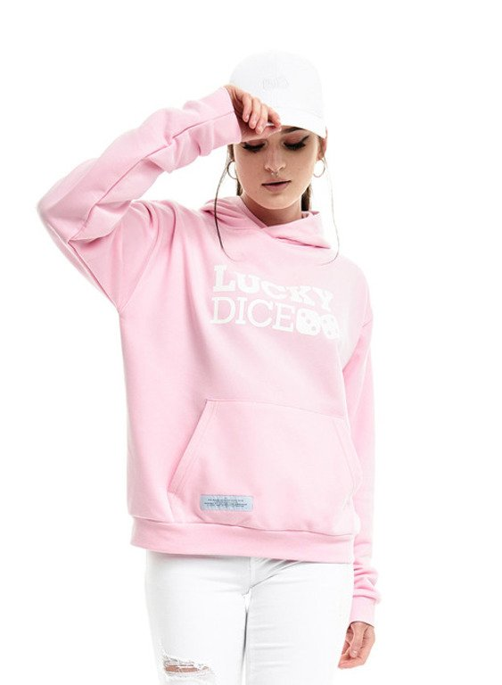 LUCKY DICE HOODIE GIRL LOGO PINK