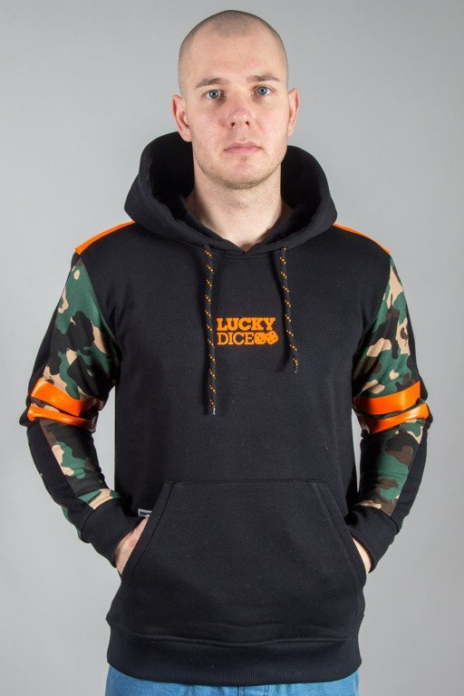 LUCKY DICE HOODIE STRIPES BLACK-CAMO