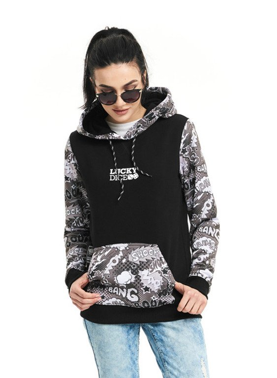 LUCKY DICE HOODIE WOMAN COMIX BLACK