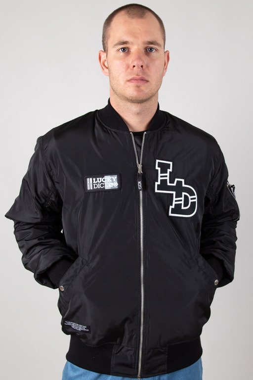 LUCKY DICE JACKET BOMBER INITIALS LD BLACK