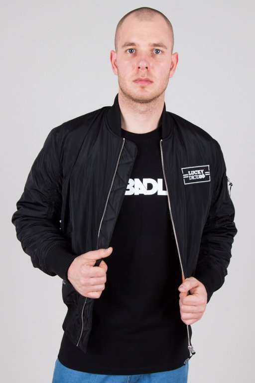 LUCKY DICE JACKET BOMBER LOGO BLACK