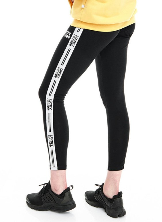 LUCKY DICE LEGGINSY WOMAN TAPE LOGO BLACK