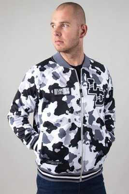 LUCKY DICE SWEATSHIRT ZIP SLIPPERY CAMO WHITE-BLACK